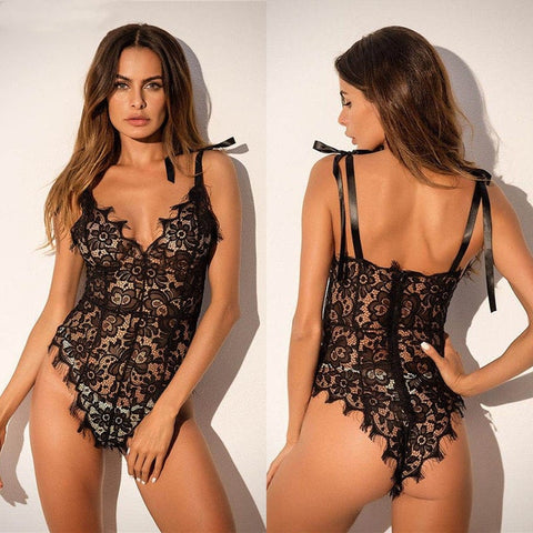 Sexy Lingerie Lace Floral Nightwear | Bodysuits Ladies Sleepwear Strap Lace Up Teddies