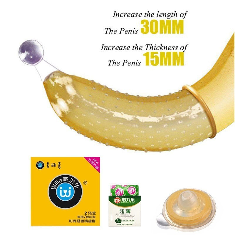 Adult Sex Products For Couple | Special Condom With Silicone Ball Penis Extender Sleeve Spike Ribbed G Spot Stimulation