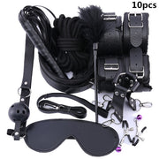 Leather Erotic BDSM Sex Kits | Erotic Sex Toys For Adult Game | Bondage Handcuffs Sex Game SM Bdsm Toys - BULULU-SHOP