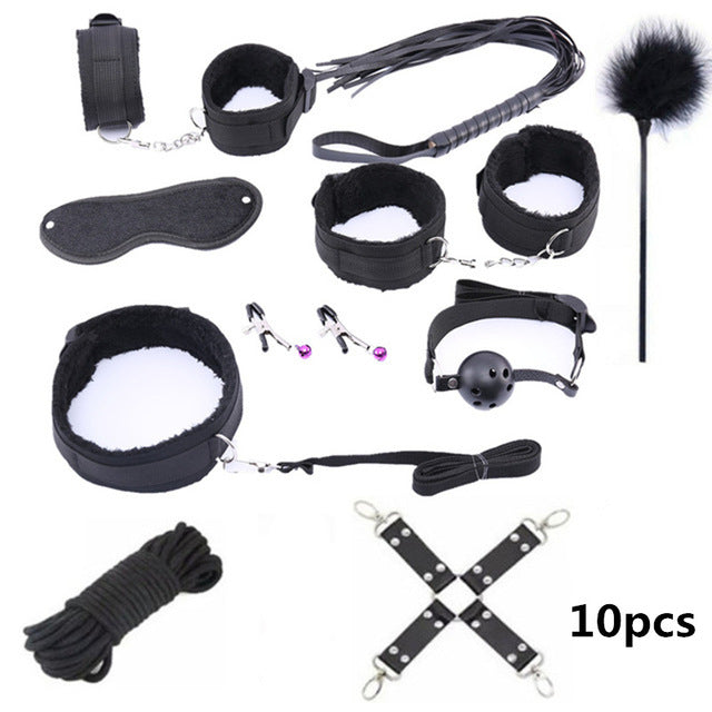 Leather Erotic BDSM Sex Kits | Erotic Sex Toys For Adult Game | Bondage Handcuffs Sex Game SM Bdsm Toys