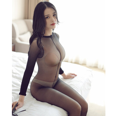 Women Crotchless sheer bodystocking | Full Body shiny pantyhose sexy open crotch girl High elastic Tights Stocking - BULULU-SHOP