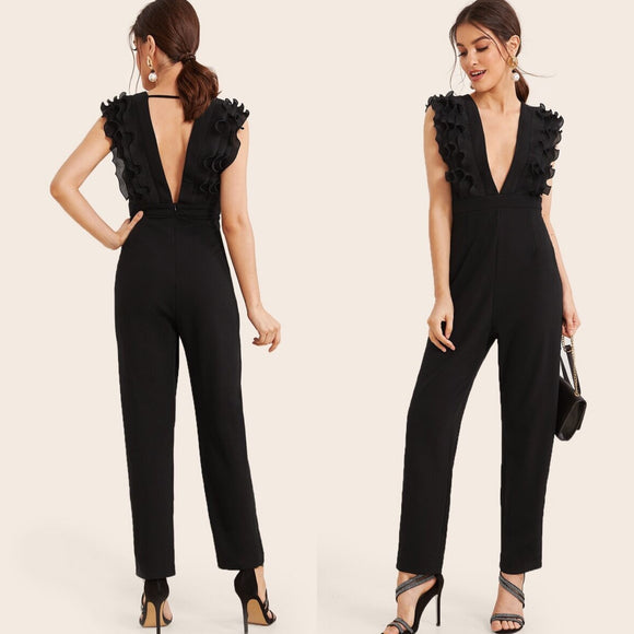 Pleated Ruffle Deep V Jumpsuit Black