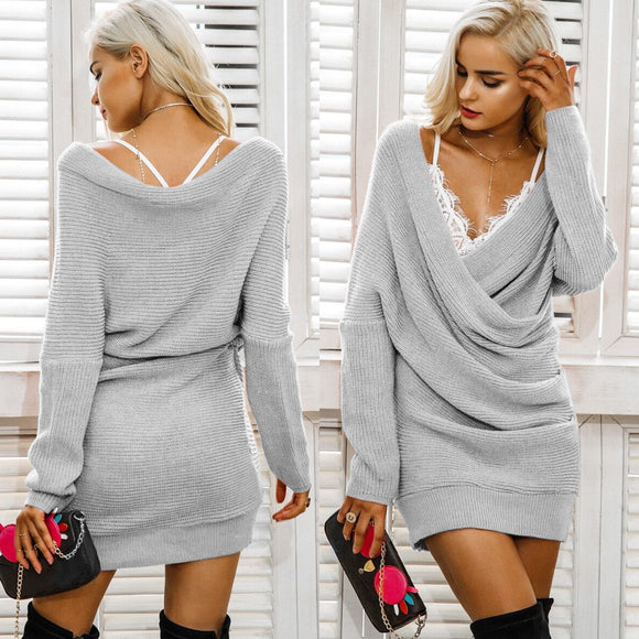 Criss Cross Wrap Tunic Sweater Grey