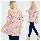 Cold Shoulder Floral Print Tunic Knot Sleeves