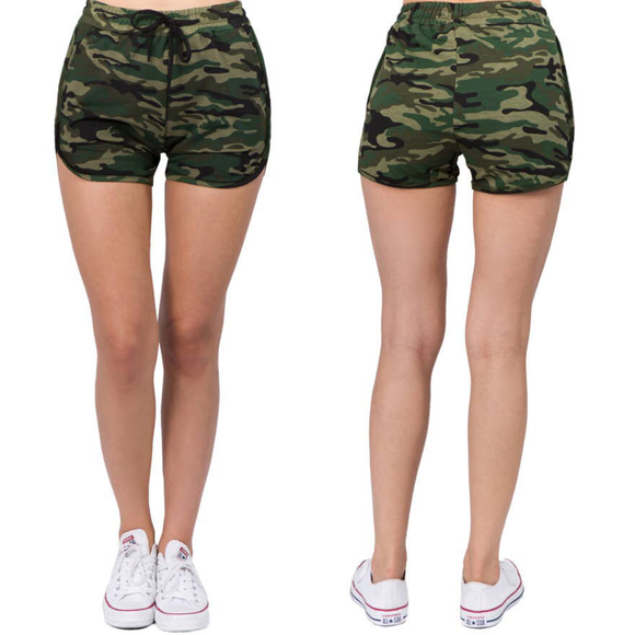 Army Green Camo Print Shorts wtih Drawstring