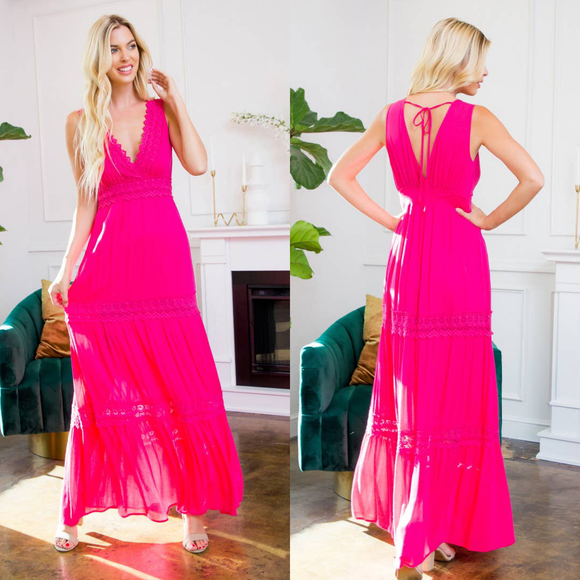 Maxi Dress Fuschia Pink with Crochet Detailing