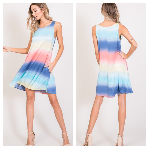Sleeveless Ombré Stripe Print Dress