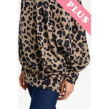 Plus Off the Shoulder Slouchy Animal Print Sweater