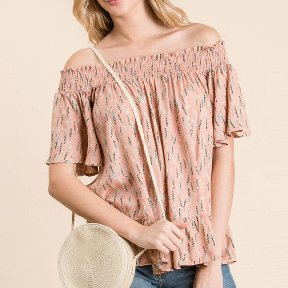 Off shoulder woven printed top