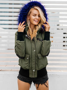 Army Green Parka with Vibrant Faux Fur Trim