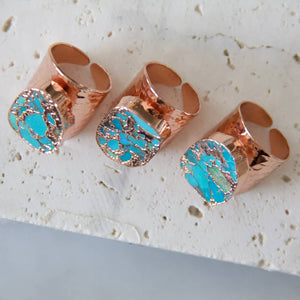 Copper Turquoise Rose Gold Hammered Cuff Ring