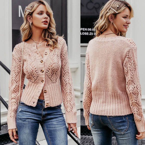 Feminine Knit Button Up Cardigan