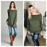 Off Shoulder Wide Neck Tunic Sweater