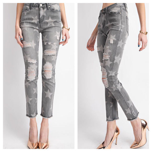 Distressed Star Print Raw Hem Ankle Denim