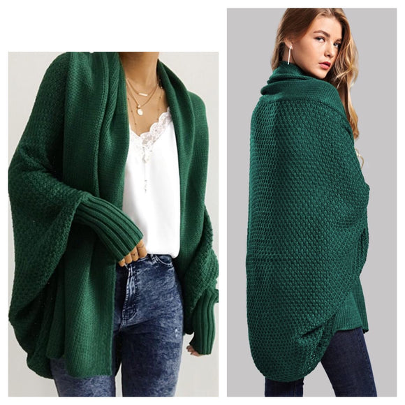 Luxurious Green Batwing Cardigan Sweater