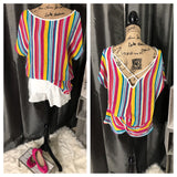 Bright Multicolored Striped Criss Cross Back Top
