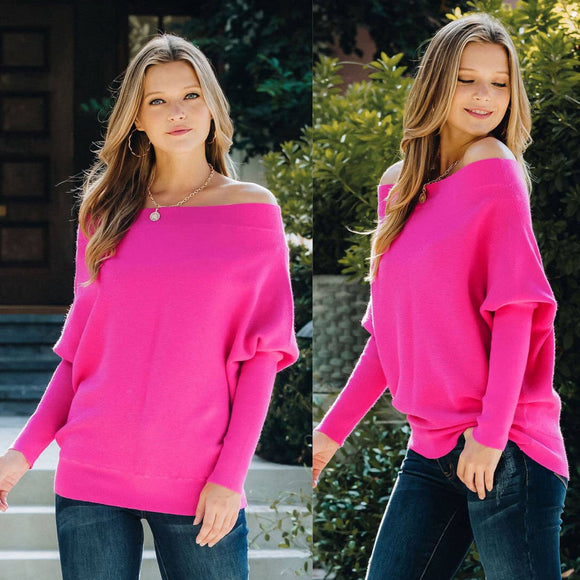 Cozy Knit Batwing Sweater Fushia