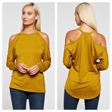 Cold shoulder racer back top Mustard