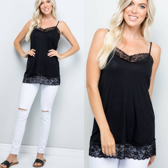Lace Trim Black Cami