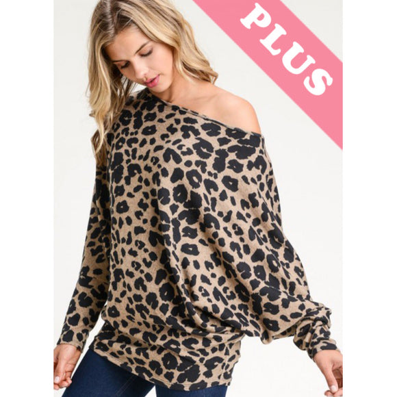Off the Shoulder Slouchy Animal Print Sweater