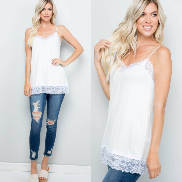 Plus Lace Trim White Cami