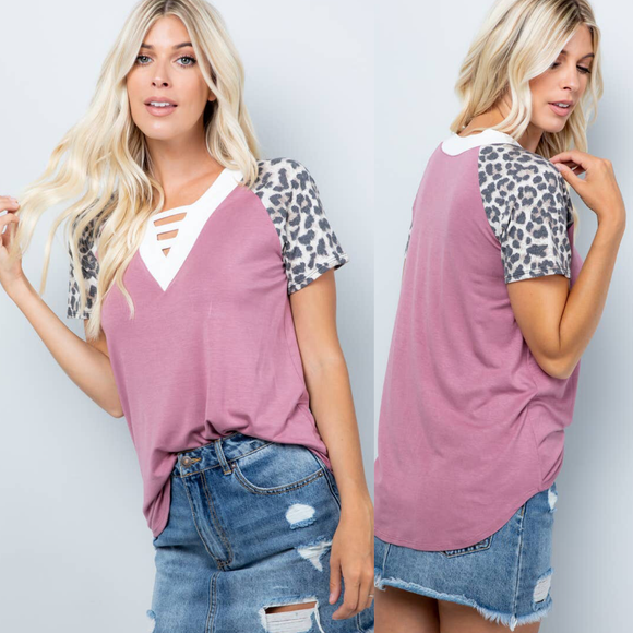 V Neck Tee with Cross Neck Design Animal Print Sleeves