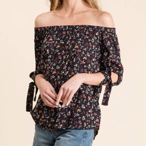 Off Shoulder Woven Ditzy Floral Top