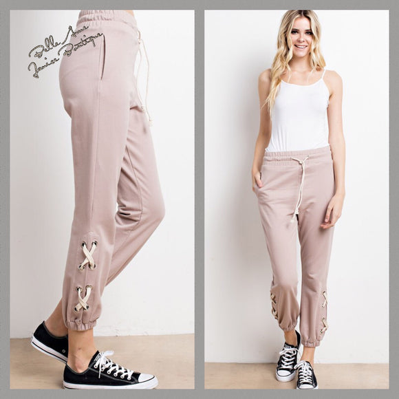 French Terry Lace-up Jogger Side Pockets
