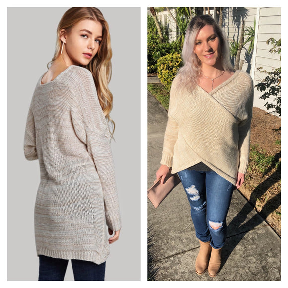 Relaxed Cozy Wrap Sweater Cream