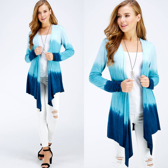 Tie Dye Cardigan Ocean Blue Three Tone Ombre