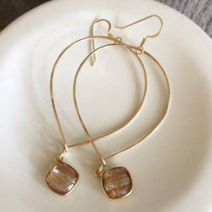 Inverted Teardrop Hoops With Copper Infused Crystal