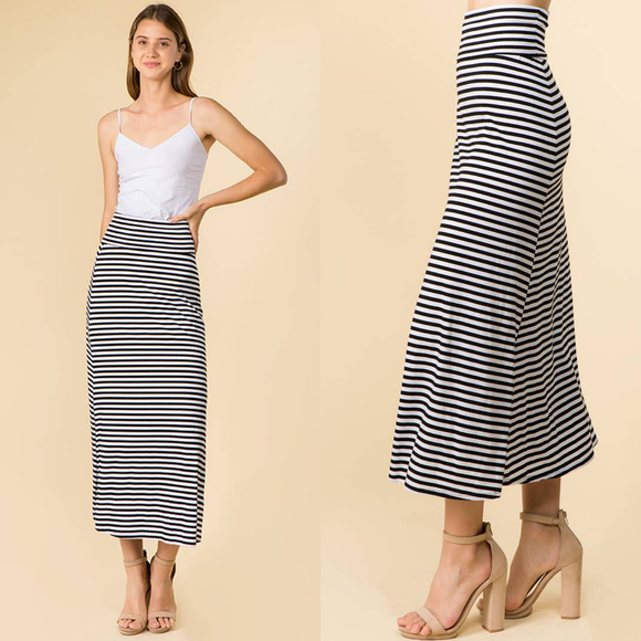 Basic Stripe Casual Maxi Skirt