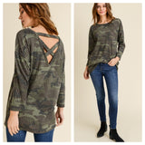 Camo Ribbed Criss Cross Back Long Sleeve Top