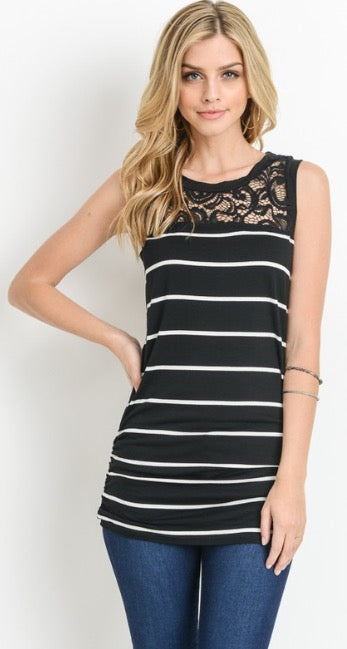 Sleeveless Black and White Striped Lace Back Tank