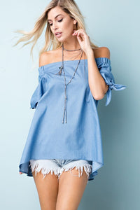 Off The Shoulder Denim Chambray Top