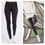 Mineral Washed Moto Leggings Black Washed