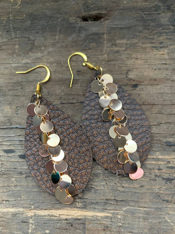 Brown Bomber Gold Dangle Chain Teardrop Leather Earring