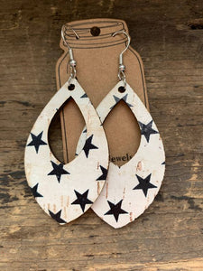 Black and White Star Cork and Leather Teardrop Earrings
