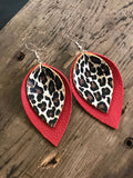 Red and Leopard Leather Earrings