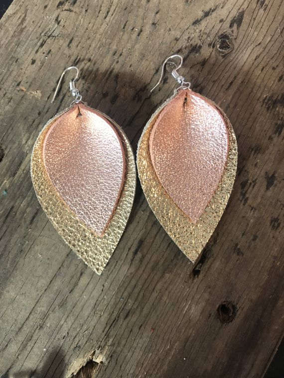 Rose Gold and Gold Layer Leather Earrings
