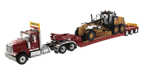 International HX520 Tandem Day Cab Tractor with XL 120 HDG Lowboy Trailer in Red and Cat 12M3 Motor Grader - Transport Series (85598)
