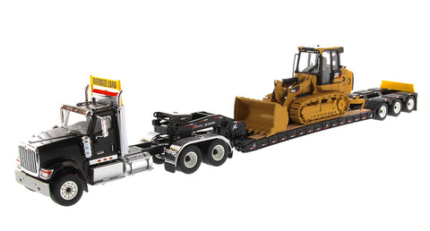 International HX520 Tandem Day Cab Tractor with XL 120 HDG Lowboy Trailer in Black and Cat 963K Track Loader - Transport Series (85599)