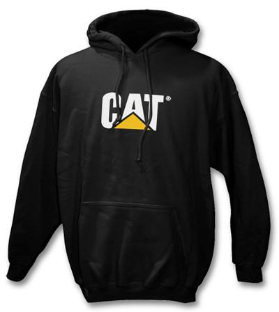 Black pull over hoodie with CAT logo on chest