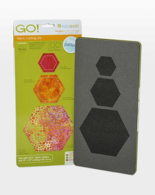 "GO! Hexagon-1"", 1 1/2"", 2 1/2"" Sides Die - Kawartha Quilting and Sewing"