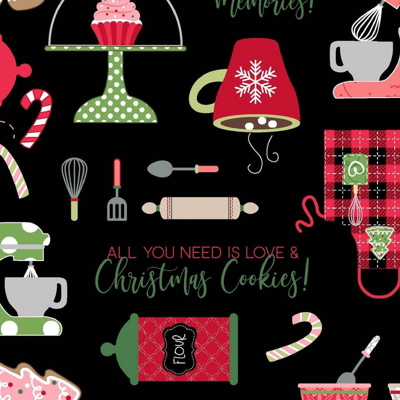 "Christmas Baking - Black - 44/45"" Wide - Kimberbell Basics - Kawartha Quilting and Sewing"