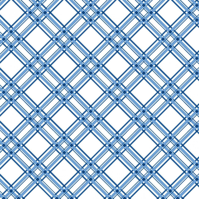 "Diagonal Plaid - Blue - 44/45"" Wide - Kimberbell Basics - Kawartha Quilting and Sewing LTD."