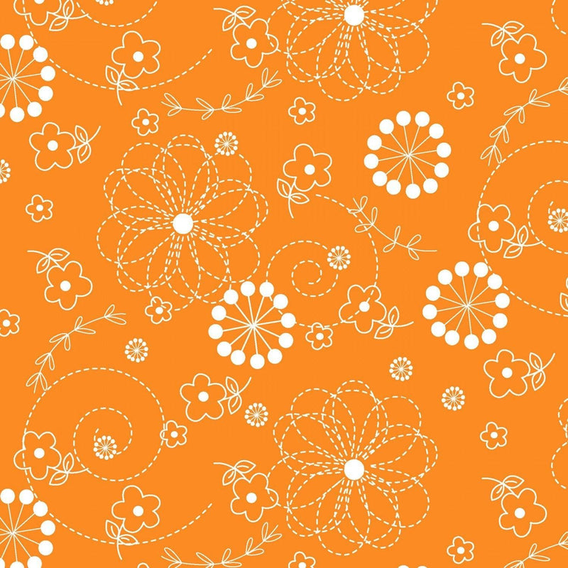 "Doodles - Orange - 44/45"" Wide - Kimberbell Basics - Kawartha Quilting and Sewing LTD."