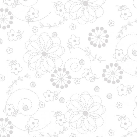 "Doodles - White on White - 44/45"" Wide - Kimberbell Basics - Kawartha Quilting and Sewing"