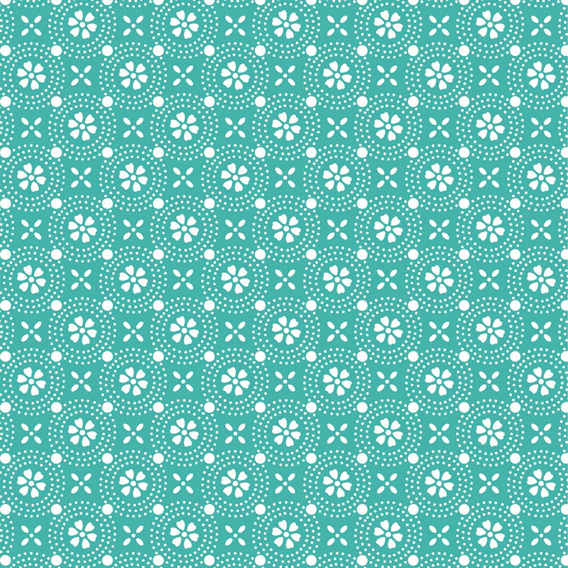 "Dotted Circles - Teal - 44/45"" Wide - Kimberbell Basics - Kawartha Quilting and Sewing LTD."
