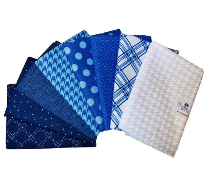 Fat Quarter Bundle - Blue - Bundle of 8 - Kimberbell Basics